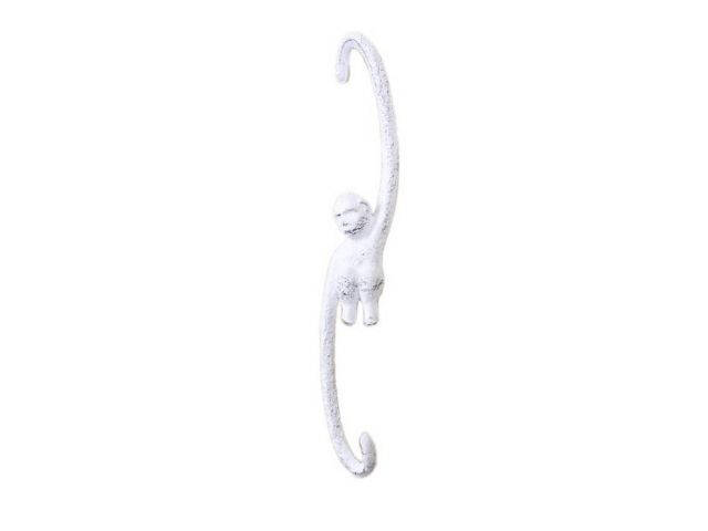 Whitewashed Cast Iron Monkey Hook 10