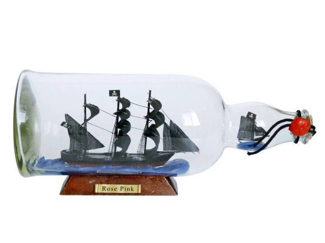 Ed Lows Rose Pink Model Ship in a Glass Bottle 11