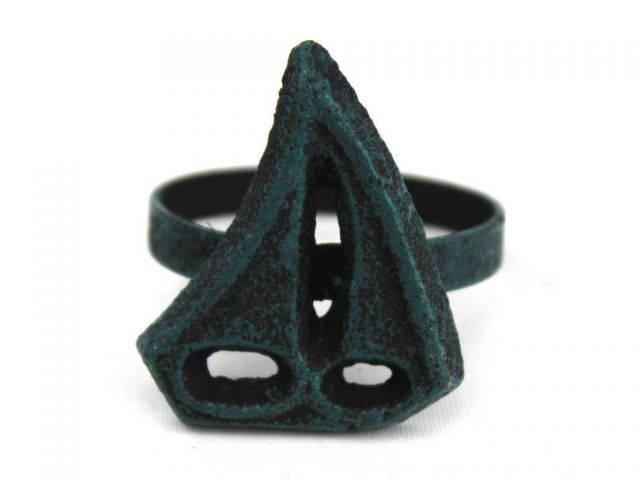 Seaworn Blue Cast Iron Sailboat Napkin Ring 2 - set of 2