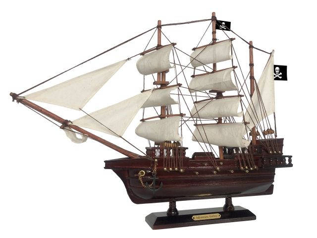 Wooden Captain Kidds Adventure Galley White Sails Pirate Ship Model 20