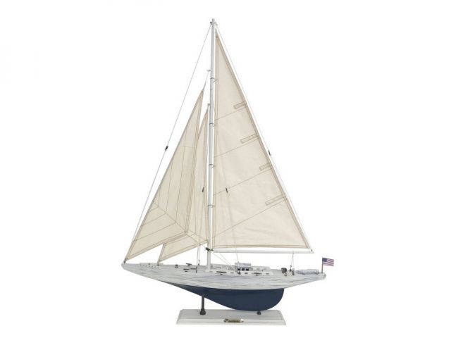 Wooden Rustic Whitewashed Enterprise Limited Model Sailboat 35