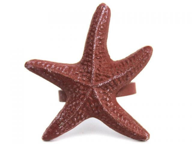 Red Whitewashed Cast Iron Starfish Napkin Ring 3 - set of 2
