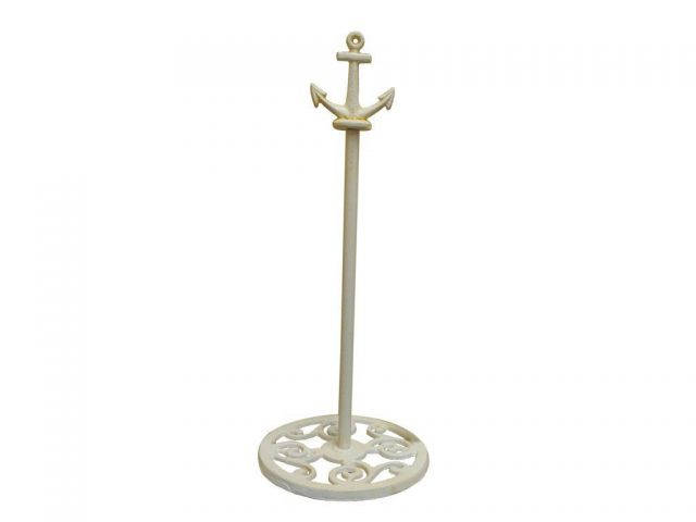 Antique White Cast Iron Anchor Extra Toilet Paper Stand 16