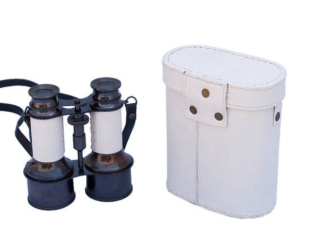 Commanders Oil-Rubbed Bronze-White Leather Binoculars with Leather case 6