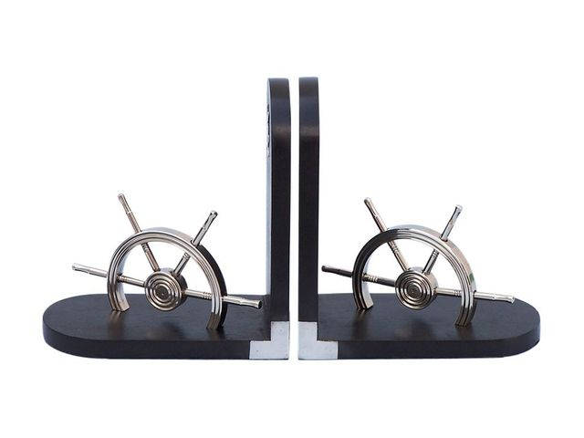 Chrome Ship Wheel Book Ends 8 - Set of 2