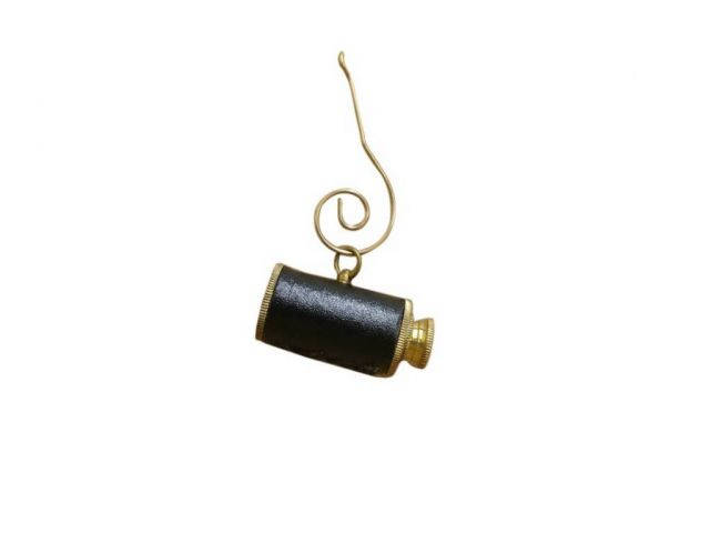 Solid Brass with Leather Spyglass Christmas Ornament 5