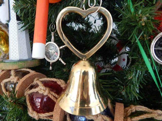 Brass Heart Bell Christmas Tree Ornament