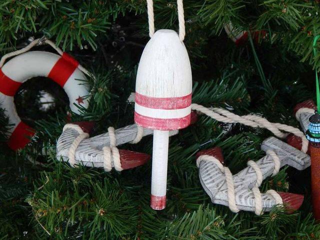 Vintage Dark Red Decorative  Lobster Trap Buoy Christmas Tree Ornament