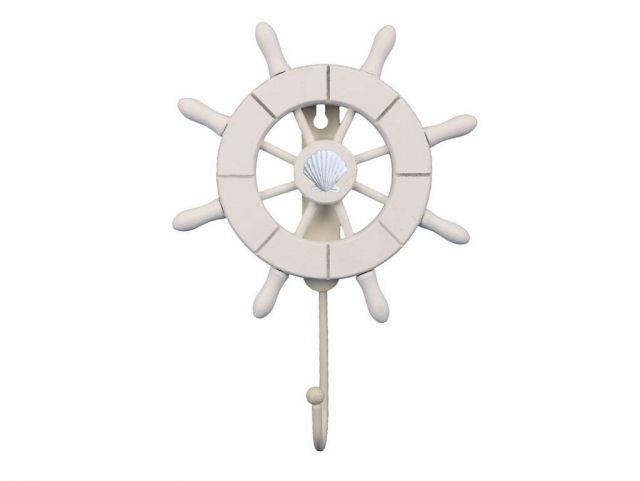 White Decorative Ship Wheel with Seashell and Hook 8