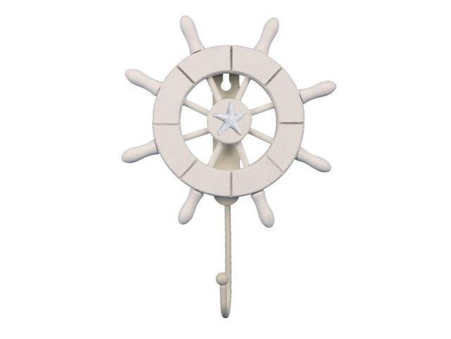 White Decorative Ship Wheel with Starfish and Hook 8