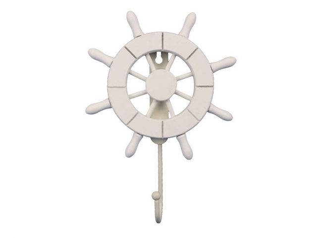 White Decorative Ship Wheel with Hook 8