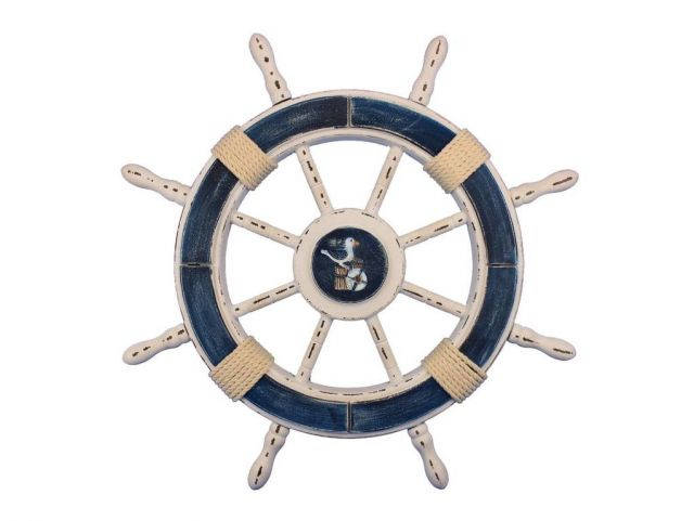 Rustic Dark Blue and White Decorative Ship Wheel With Seagull 24