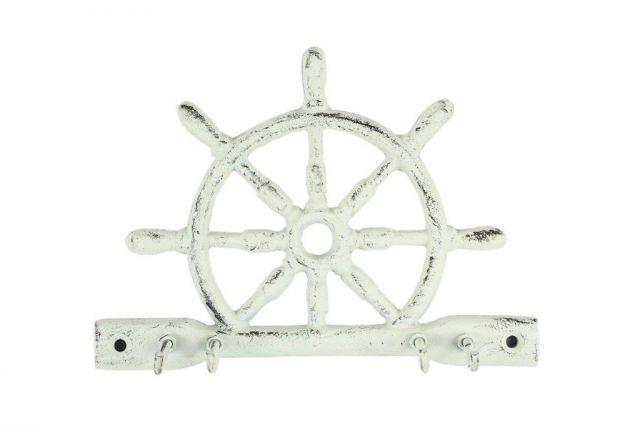 Whitewashed Cast Iron Ship Wheel With Hook 8