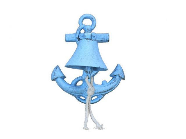 Rustic Light Blue Cast Iron Wall Mounted Anchor Bell 8