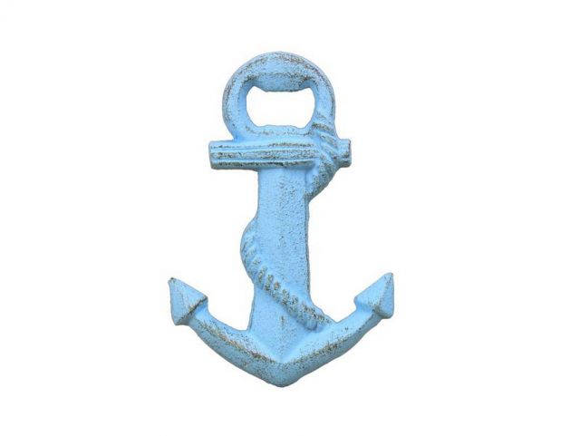 Rustic Light Blue Cast Iron Anchor Bottle Opener 5