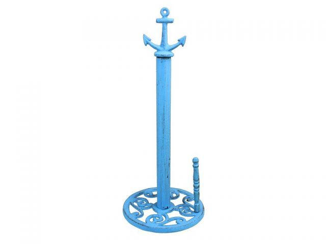Rustic Light Blue Cast Iron Anchor Paper Towel Holder 16