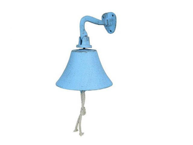 Rustic Light Blue Cast Iron Hanging Ships Bell 6