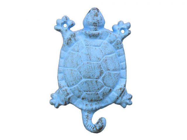 Rustic Light Blue Cast Iron Turtle Key Hook 6