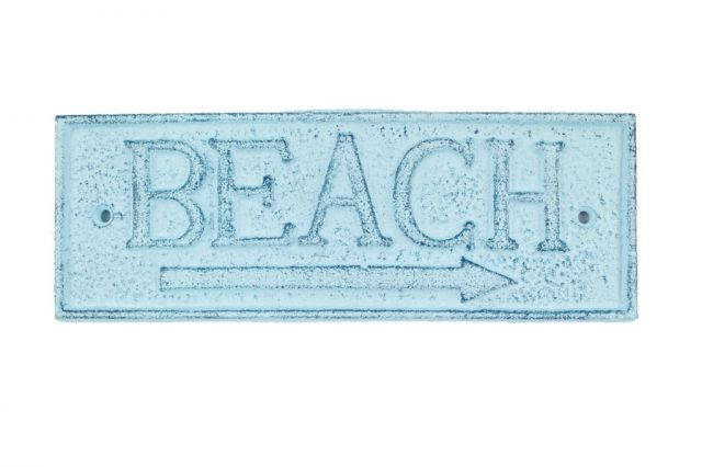 Rustic Dark Blue Whitewashed Cast Iron Beach Sign 9