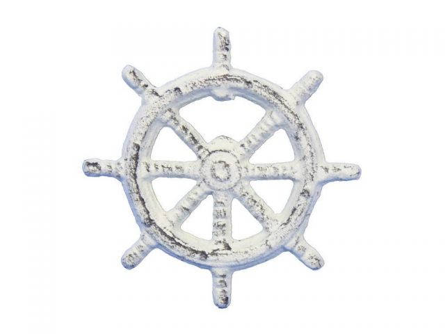 Whitewashed Cast Iron Ship Wheel Bottle Opener 3.75