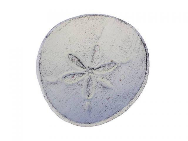 Whitewashed Cast Iron Sand Dollar Decorative Plate 6