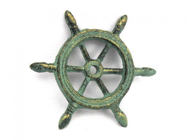 Antique Bronze Cast Iron Ship Wheel Decorative Paperweight 4