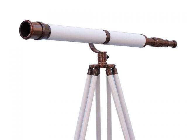 Floor Standing Antique Copper With White Leather Galileo Telescope 65