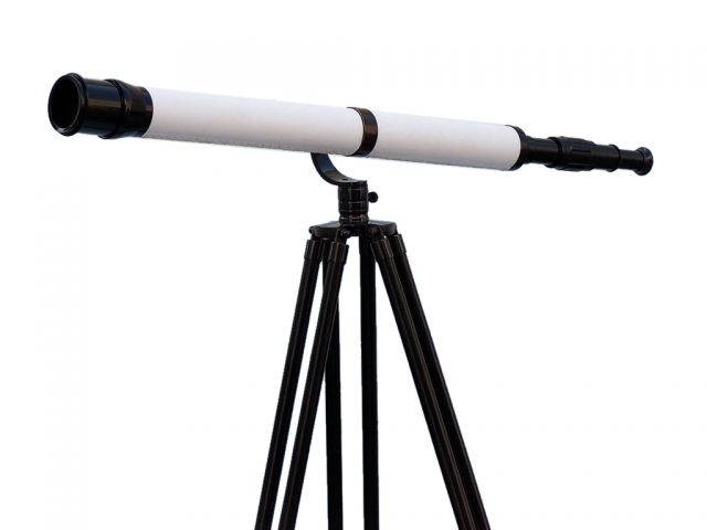 Floor Standing Oil-Rubbed Bronze-White Leather With Black Stand Galileo Telescope 65