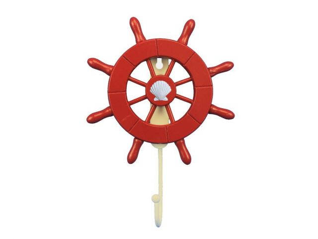 Red Decorative Ship Wheel with Seashell and Hook 8