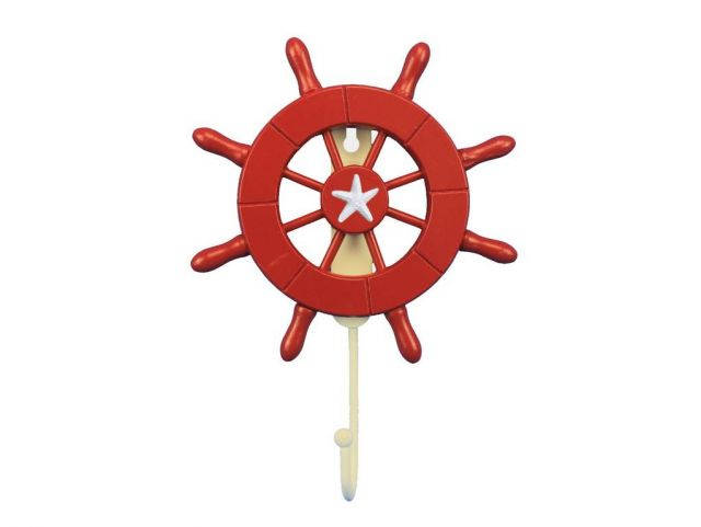 Red Decorative Ship Wheel with Starfish and Hook 8