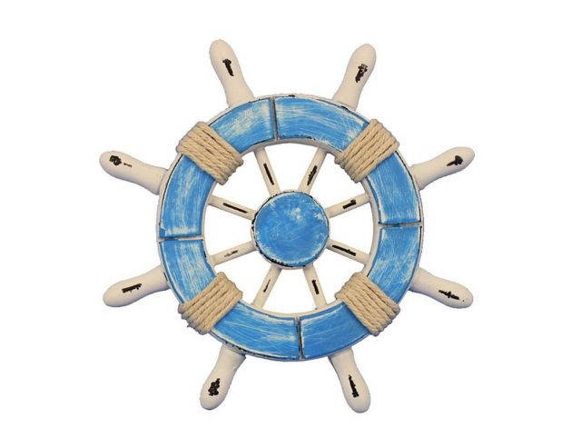 Rustic Light Blue and White Decorative Ship Wheel 6