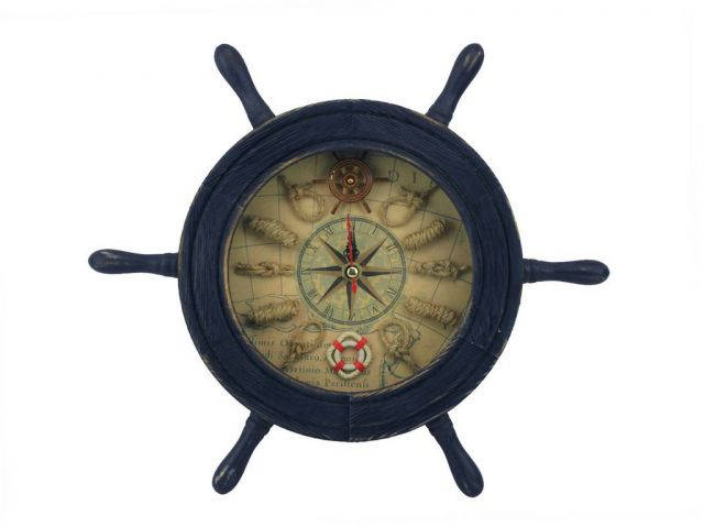 Wooden Rustic Dark Blue Ship Wheel Knot Faced Clock 12