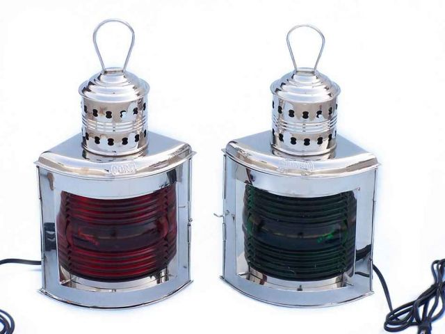 Chrome Port And Starboard Electric Lantern 17