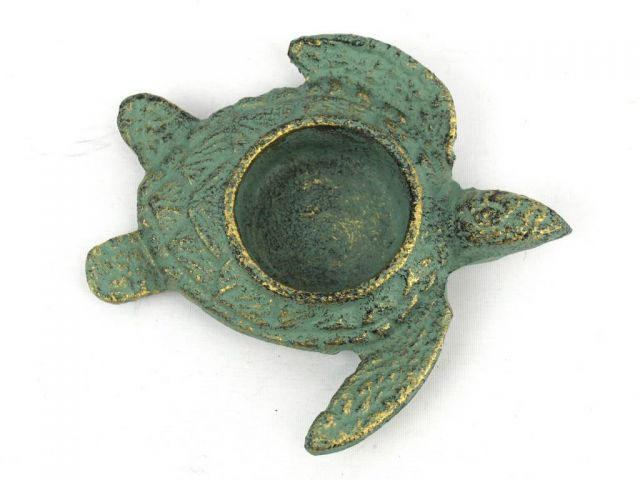 Antique Bronze Cast Iron Turtle Decorative Tealight Holder 4.5