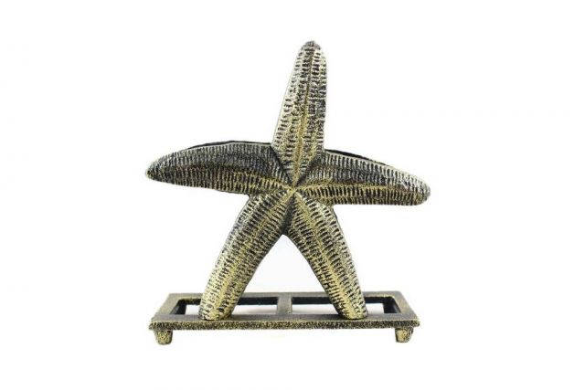 Antique Gold Cast Iron Starfish Napkin Holder 6