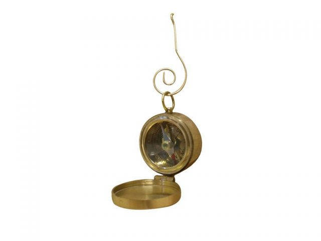 Solid Brass Decorative Compass with Lid Christmas Ornament 4