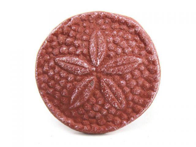 Red Whitewashed Cast Iron Sand Dollar Napkin Ring 2 - set of 2