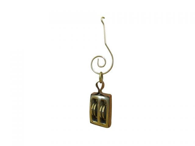 Solid Brass Pulley Christmas Ornament 4