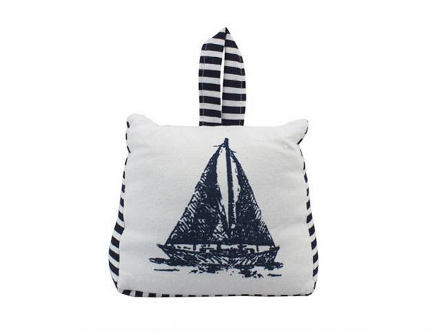 Blue and White Canvas Sandbag Sailboat Door Stop 6