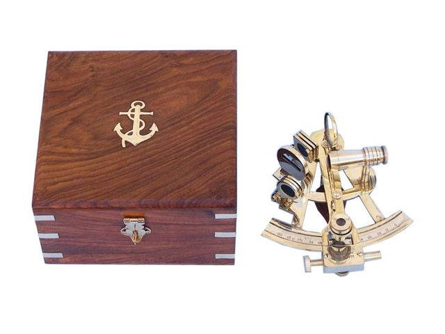 Captains Brass Sextant with Rosewood Box 8