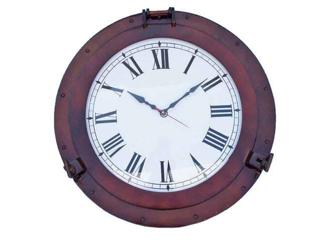 Antique Copper Decorative Ship Porthole Clock 24