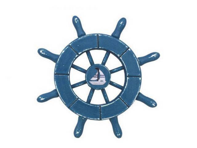 Rustic Light Blue Decorative Ship Wheel With Sailboat 6
