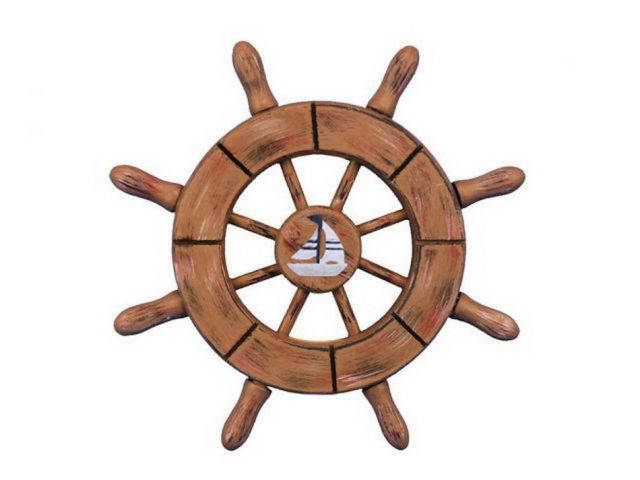 Rustic Wood Finish Decorative Ship Wheel With Sailboat 6