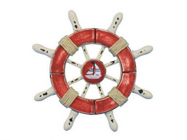 Rustic Red and White Decorative Ship Wheel With Sailboat 6