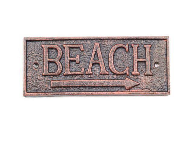 Rustic Copper Cast Iron Beach Sign 9