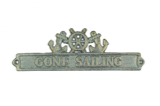 Antique Bronze Cast Iron Gone Sailing Sign with Ship Wheel and Anchors 9