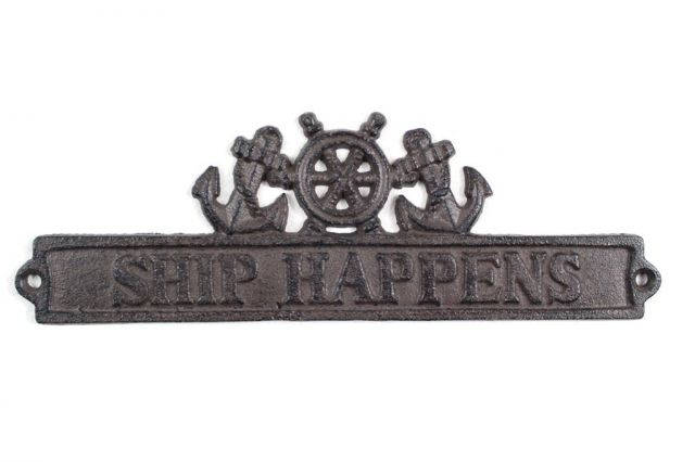 Cast Iron Ship Happens Sign with Ship Wheel and Anchors 9