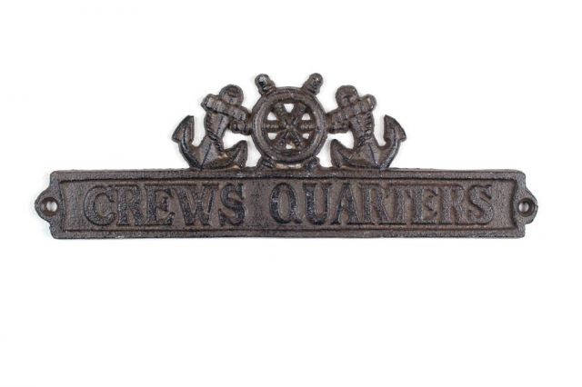 Cast Iron Crews Quarters Sign with Ship Wheel and Anchors 9
