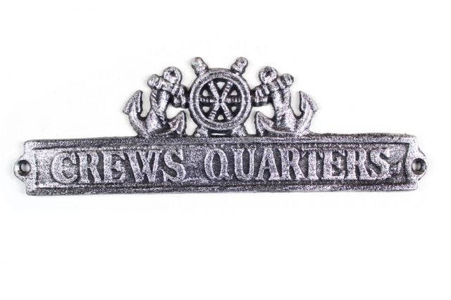 Antique Silver Cast Iron Crews Quarters Sign with Ship Wheel and Anchors 9
