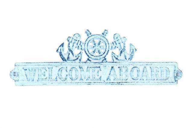 Dark Blue Whitewashed Cast Iron Welcome Aboard Sign with Ship Wheel and Anchors 9